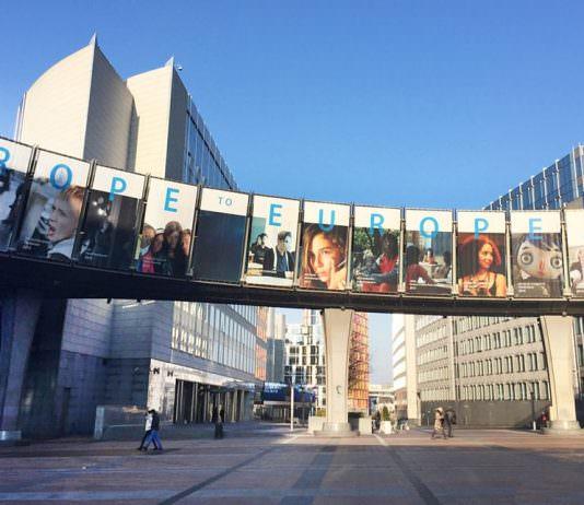 En kontorsbyggnad i Bryssel som tillhör EU