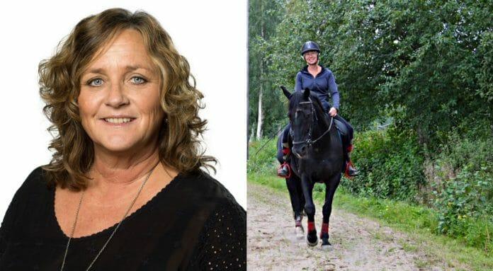 Personaldirektör Marina Olsson och person som rider.