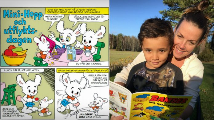 Maria Enander och sonen Imani, 5 år, läser Bamse.