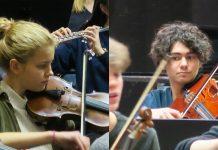 Agnes och Dante under repetitioner med sina instrument.