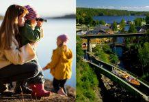 Kvinna med två barn står på en bergknalle och tittar ut över en sjö samt vy över akvedukten i Håverud.