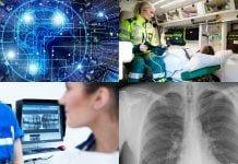collage med ambulans och röntgenbilder
