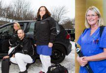 Närsjukvårdsteamet packar bilen med specialistsjukvårdsutrustning och beger sig hem till patienten. Ingrid Järpfält Svensson, en av medarbetarna i palliativa teamet, har packat ryggsäcken och är på väg till en av patienterna.