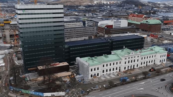 Flygfoto över regionens hus i Göteborg
