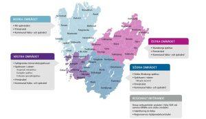 Karta över indelningen av de fyra områden som etappvis går över till Millennium.