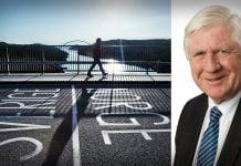 Bild på gränsen Sverige/Norge samt Johnny Magnusson, regionstyrelsens ordförande i VGR