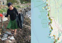 Plockar upp skräp med digitala strandstädarkartan.