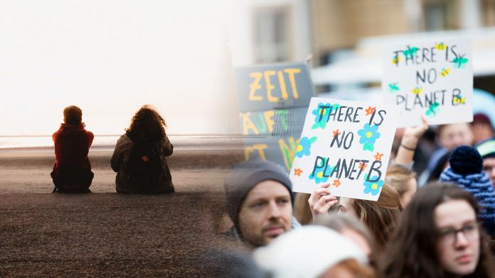 Bild på två personer som samtalr samt en bild på skyltar och personer som strejkar för klimatet.