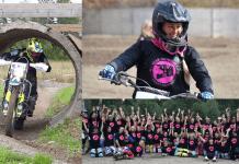 Tre bilder. Ida kör motocross genom en tunnel och Anette sitter på en cross samt en lagbild på många medlemmar.