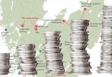 Bild på olika travar med mynt och en karta som visar var sjukhusen finns i Västra Götaland.