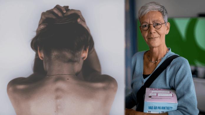 Bild på en kvinnas rygg, kvinnan håller händerna runt huvudet samt en porträtt bild på Anke Samulowitz,