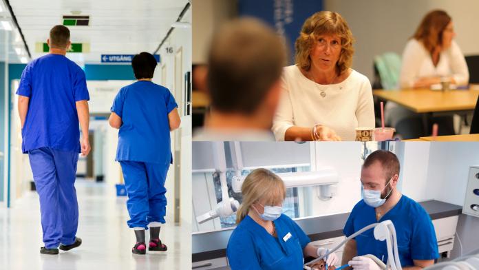 Vårdpersonal som går i en korridor, tandläkare som jobbar och en bild på regiondirektör Ann-Sofi Lodin.