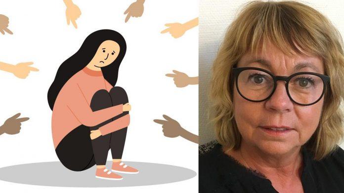 Illustration på flera händer som pekar på en tjej som sitter ihopkurad plus en porträttbild på Ann Wolmar.
