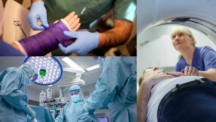 En man lägger ett förband, bild på kirurger som opererar och en kvinna ich patient i en röntgenapparat.