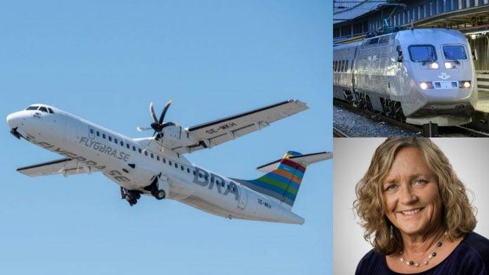Inrikesflyg, SJ-tåg och personaldirektör Marina Olsson
