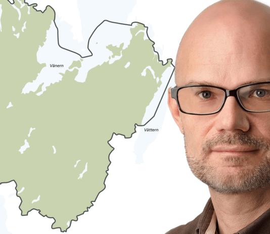 Karta över Västra Götaland och porträtt av smittskyddsläkare Thomas Wahlberg
