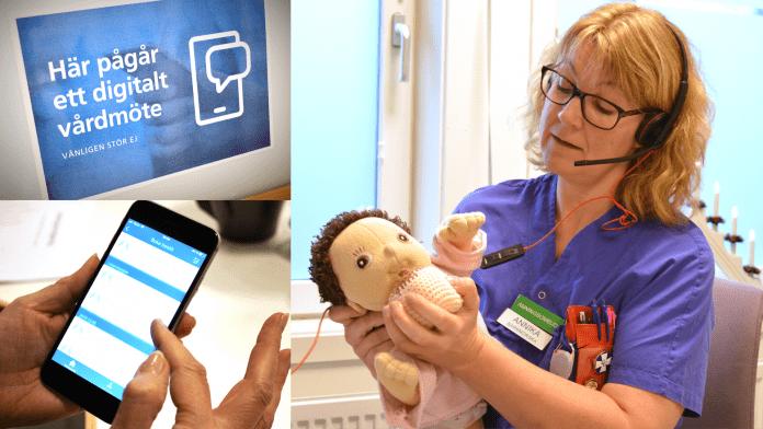 Barnmorskan Annika sitter med headset och håller en docka i famnen och visar hur man ammar.