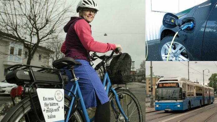 Louise Solar tar gärna elcykeln när hon besöker sina patienter. Men är det verkligen hälsosamt? Löser gratis kollektivtrafik alla problem och är det verkligen bättre att tanka el än bensin? Foto: Anna Rehnberg, Kenny Stolpe och Martina Koch.