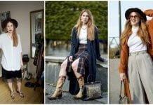 Marielle Krus visar olika klädkombinationer.