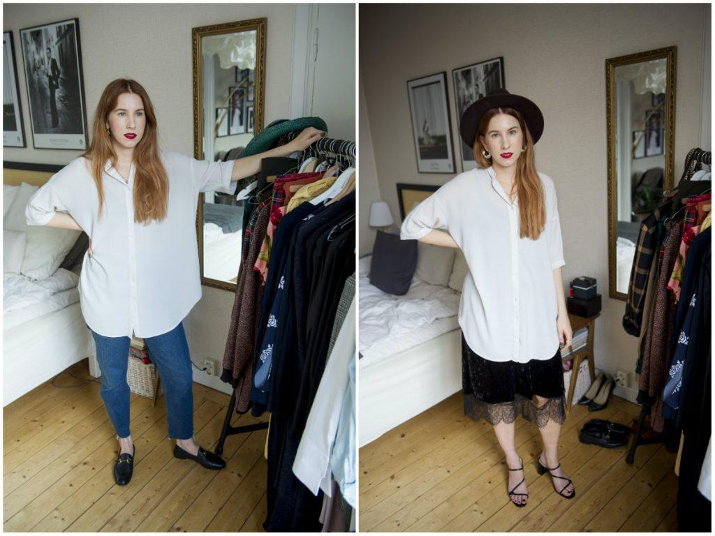 Marielles favoritskjorta är lång, lös och ledig och funkar till både vardag och fest. Tillsammans med ett par gamla jeans från HM, ett par vintage-fyndade loafers och ett rött läppstift som accessoar är hon redo för en dag på jobbet. Eller utanpå en finklänning hon köpte som utbytesstudent i Taiwan och med ett par sandaler hon köpt på Tradera är hon klar för utgång.