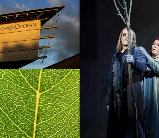 Huset GöteborgsOperan, ett grönt löv som symboliserar testet och en scen ur föreställningen Valkyrian.