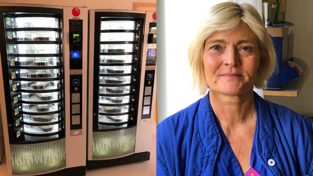 Ing-Marie Backlund, barnmorska och sektionsledare på BB, Näl har fått många positiva reaktioner på automaten som gör det möjligt att värma mat och äta när som helst på dygnet. Foto: Bettina Axelsson.