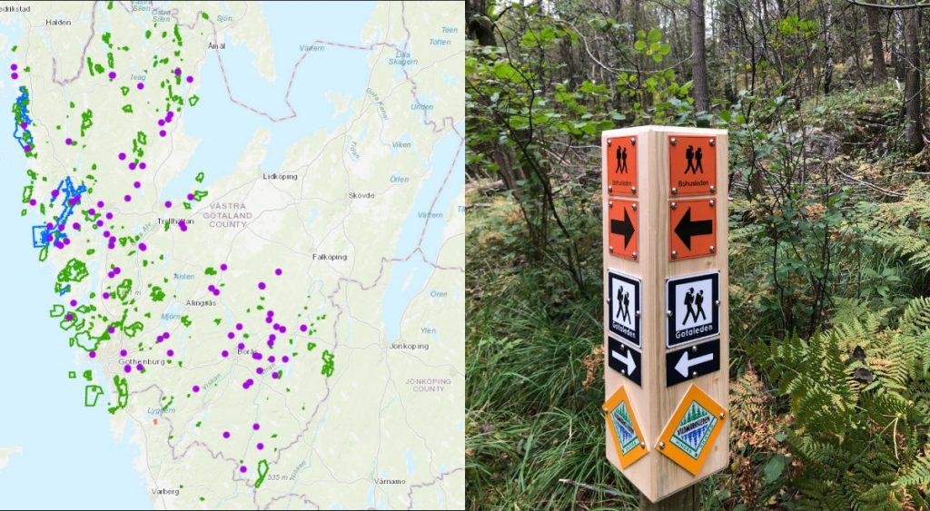 Karta över naturreservat och exempel på skyltning av en led.