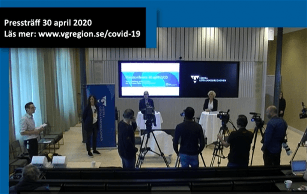 Bild från pressträffen 30 april med smittskyddsläkare Thomas Wahlberg och hälso- och sjukvårdsdirektör Ann Söderström.