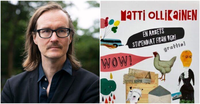 Matti Ollikainen är en av 15 konstnärer som får ett så kallat arbetsstipendium från Västra Götalandsregionen. Foto: Samuel Petersson, årets diplom är gjorda av konstnären Christina Roos.