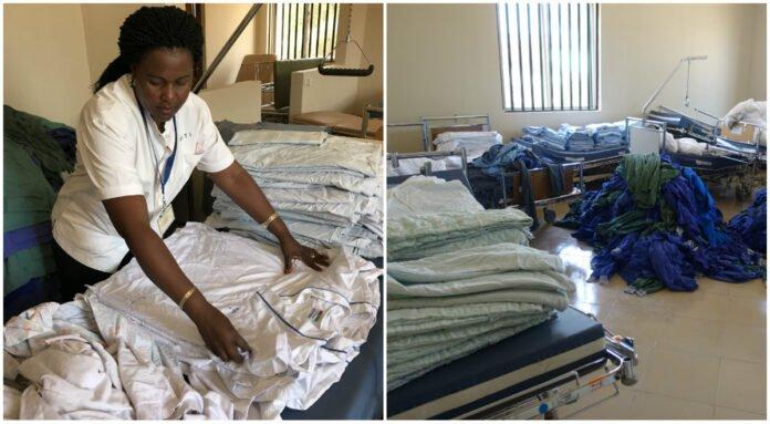Textilier från Tvätteriet i Alingsås tas om hand på ett sjukhus i Kongo.