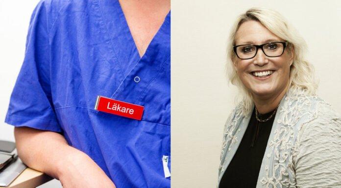 En namnbricka med ordet läkare plus ett porträtt på Susanne Tedsjö, chef för patientnämnderna s kansli. VGR