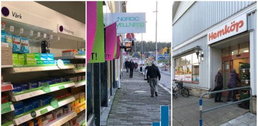 Apotekshylla, gaubild med butiker och ett diagram över ökat antal covidfall. Bild från entrén till en livsmedelsbutik.