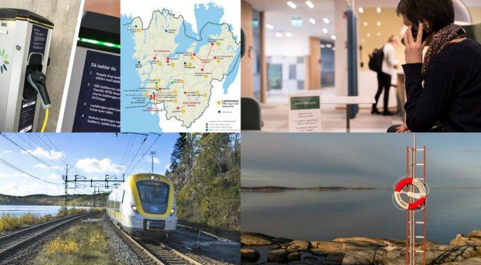 laddstolpe för elfordon, tåg på räls, badplats och en person som talar i telefon
