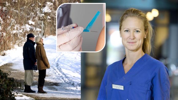 Ett pensionärspar på promenad, en vaccinspruta och vaccinationssamordnare Kristine Rygge.