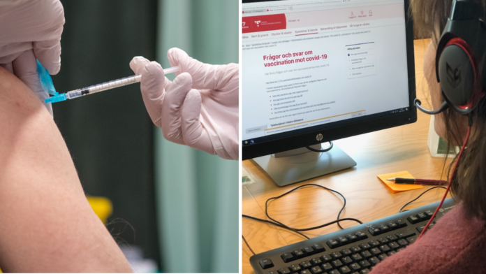 Bild på vaccinspruta som sticks i en arm och bild på en telefonost som läser på webbplatsen 1177.se