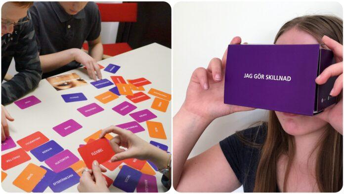Elever testar med hjälp av kort vilka yrken de skulle kunna gilla. Elev med VR-glasögon