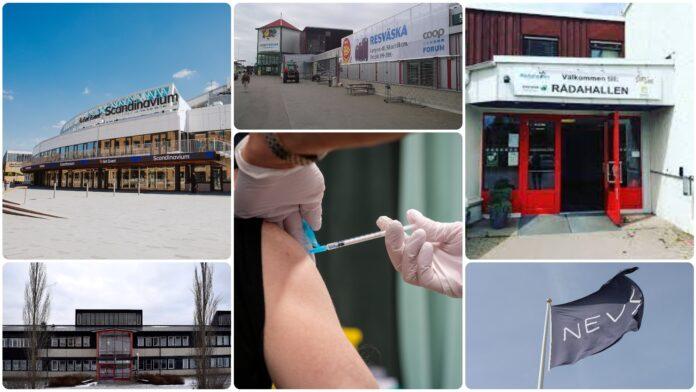 Bilder på olika lokaler som är klara för massvaccinering i fas fyra.