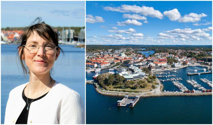 Anja Sonnerud och ett flygfoto över Strömstad.