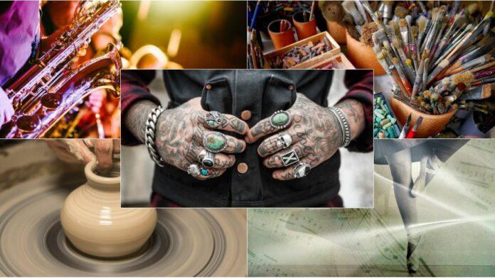 collage med dansare, drejare, saxofon och tatuerade händer.