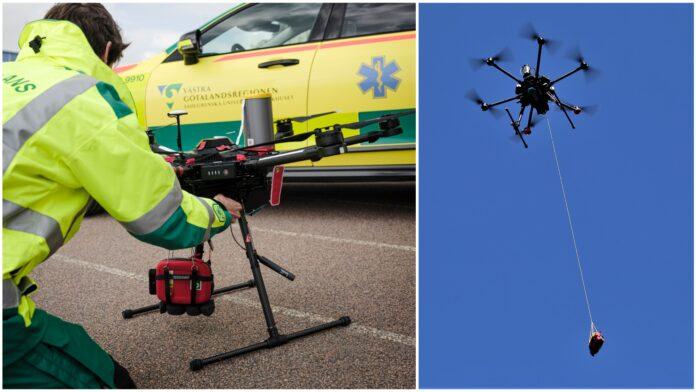 Ambulanspersonal som förbereder drönaren för leverans av hjärtstartaren och bild på drönare i luften mot en blå himmel.