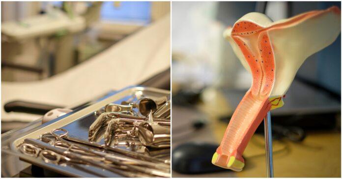 Bild på en gynstol med undersökningsinstrument i förgrunden och en modell av en vagina och livmoder.