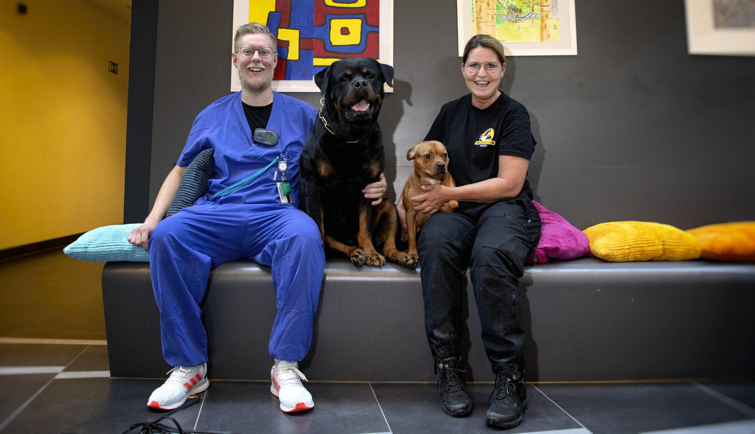 Kolleger och hundförare. Alexanders Hansson och Marika Broberg är båda hundförare inom rättspsykiatrin, här med Marikas hundar Bosse och Doriz. Foto: Anna Rehnberg